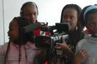 participants in Lola Kenya Screen's skills-development programme shooting their movie